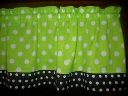 Lime Green Black Polka Dot Bedroom Kitchen fabric window cur