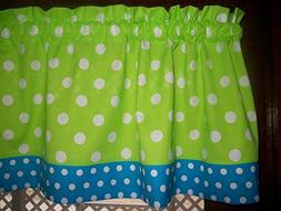 Lime Green Turquoise Polka-Dot fabric window topper curtain