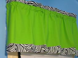 Handmade LIME GREEN with Black White Zebra Print Window Vala