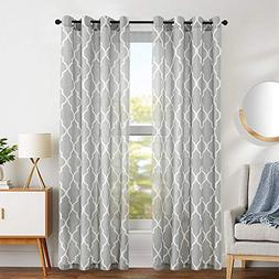 Curtains for Living Room 84 inch Grey Moroccan Tile Linen Bl