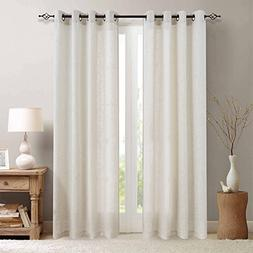 jinchan Linen Blend Curtains for Living Room 84 Inch Length