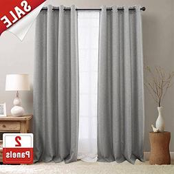 jinchan Linen Fabric Moderate Blackout Curtain Panels for Be