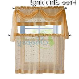 linen leaf embroidered kitchen curtain