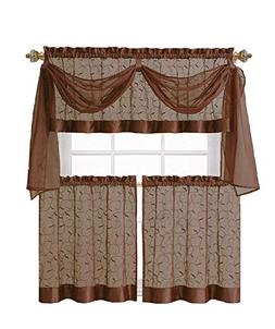 GoodGram Linen Leaf Embroidered Sheer Kitchen Curtain Set -