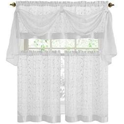 GoodGram Linen Leaf 4 Piece Kitchen Curtain Set By Victoria
