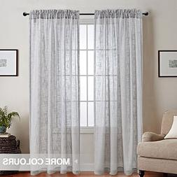jinchan Grey Sheer Curtains for Living Room 84 Inch Length L