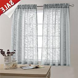 Linen Look Sheer Curtains for Bedroom 63 inch Length Window