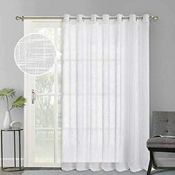 Linen Look Sheer Curtains - Casual Style White Grommet Top W