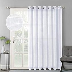 Linen Look Sheer Curtains Casual Style White Grommet Top Win