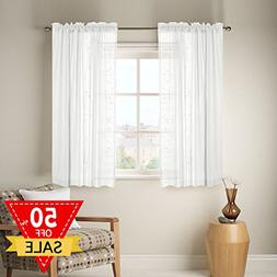Linen Sheer Curtains with Two bonus tie-back for Bedroom, Ba