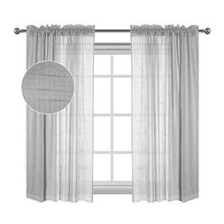 Flamingo P Linen Sheer Curtains with Two Bonus tie-Back for