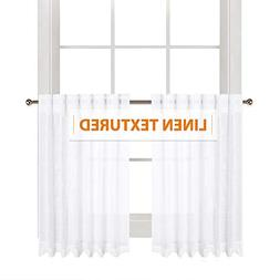 RYB HOME Linen Wave White Sheer Curtains Semi- Voile with Te