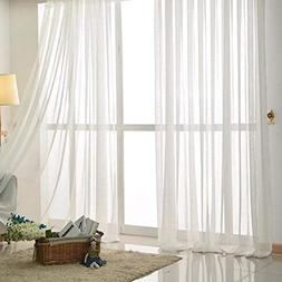 KALENDS 2 Pcs Linen Pure White Tulle Fabric Sheer Curtains S