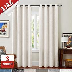 Linen Textured Window Curtains for Living Room Burlap 95 inc