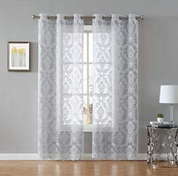 LinenZone Lisa Knitted Lace Curtain Medallion Design with Sc