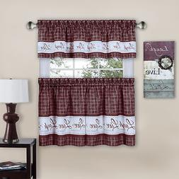 Live, Love, Laugh Window Curtain Tier Pair and Valance Set -
