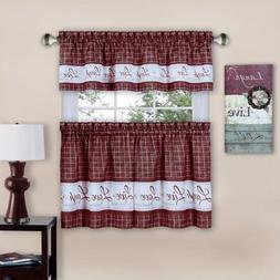 Achim Live Love Laugh Window Curtain Tier Pair and Valance S