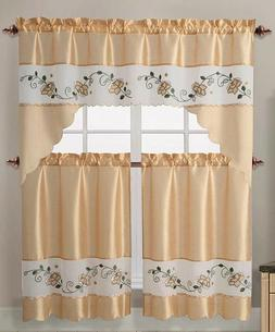 Lizzy Flower Embroidery 3 Pc Gold Kitchen Curtain Set - Swag