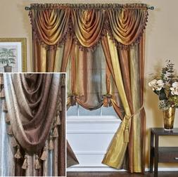 "84"" Long Chocolate Ombre Stripe Semi Sheer Curtain Panel"
