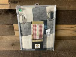 Lorraine Courtyard Plaid Woven Curtain Panel with Grommets B