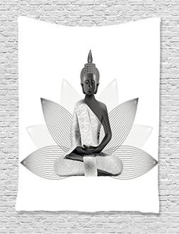 Lotus Flower Tapestry Yoga Decor by Ambesonne, Meditation Th