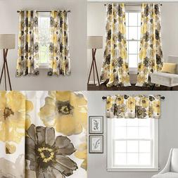 Leah Floral Room Darkening Window Curtains Panel