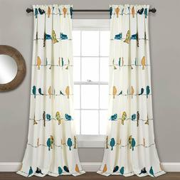 Lush Decor Rowley Birds Darkening Window Curtains Panel Set