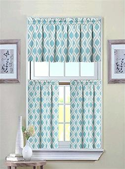Luxurious Turquoise Geometric Shabby 3 Piece Kitchen Curtain