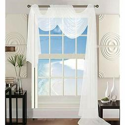 """Luxury 60 216"""" Solid Curtain Sheer Voile Scarf, White Home K"""