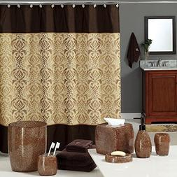 Uphome Luxury Brown Gold Shiny Damask Bathroom Shower Curtai
