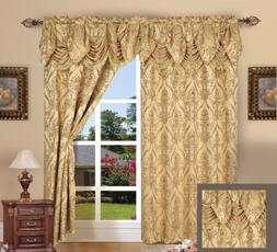 Elegance Linen Luxury Jacquard Curtain Panel Set with Attach