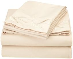 Cathay Home Fashions Luxury Silky Soft Leaf Design Embroider