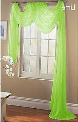 LuxuryDiscounts Beautiful Elegant Solid Lime Green Sheer Sca