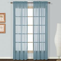 LuxuryDiscounts 2 Piece Solid Elegant Sheer Curtains Fully S