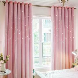 Macohome Twinkle Star Curtains Girls Bedroom Double Layer Wi