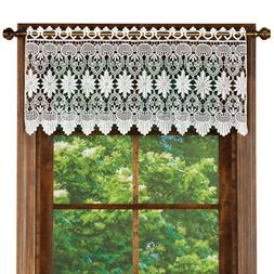 Macrame Curtain Scalloped Valance Window Topper for Bathroom