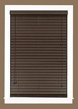 "Madera Falsa 2"" Faux Wood Plantation Blind 35x64 - Mahogany"