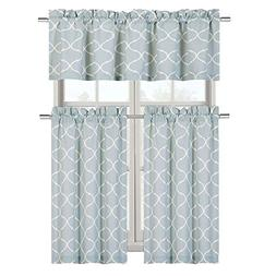 Maison Shabby Trellis Cotton Blend Kitchen Curtain Tier & Va