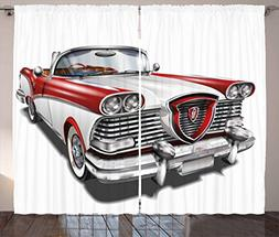 Man Cave Decor Curtains by Ambesonne, Retro Car in Red and W