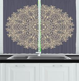 Ambesonne Mandala Kitchen Curtains, Asian Style Floral Myste