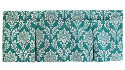Margaux Teal Print Lined Box Pleat 58 Inch Window Window Val