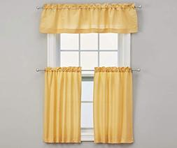 Living Colors Marla Gold Tier & Valance 3-Piece Set-Material