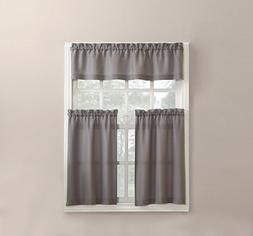 "No. 918 Martine Microfiber 3pc Kitchen Curtain Set, 54"" x 36"