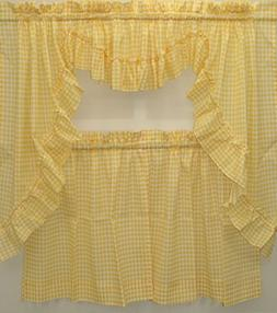 Mary Gingham Swag Pair Pair-Yellow