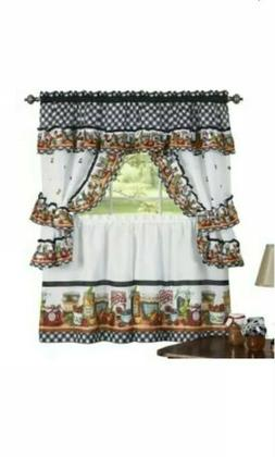 mason jars cottage style kitchen curtain swag