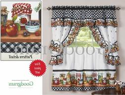 Mason Jars Cottage Style Kitchen Curtain Swag & Tiers Set -
