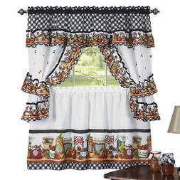 Mason Jars Kitchen Rod Pocket Window Curtain Set, Brown, by