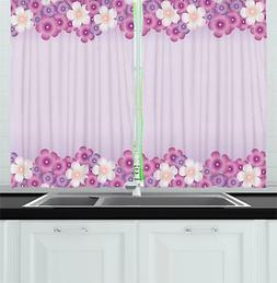 "Mauve Kitchen Curtains 2 Panel Set Window Drapes 55"" X 39"" A"