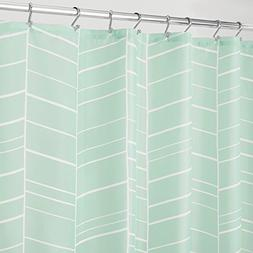 """mDesign White Striped Soft Fabric Shower Curtain - 72"""" x 72"""""""