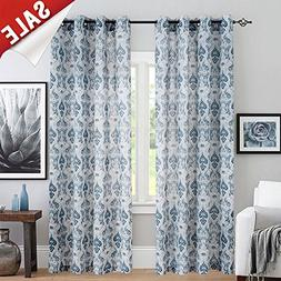 Medallion Linen Curtains for Living Room Curtain Panels Flax